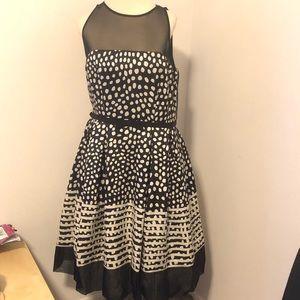 Taylor Black & Tan Pattern Mesh Fit & Flare Dress